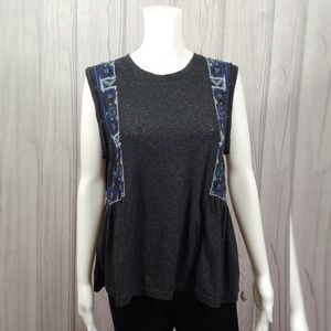 Free People Marcy Embroidered Peplum Knit Tank Top